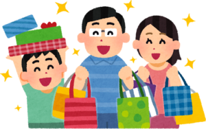 画像:たくさん買い物をする家族
